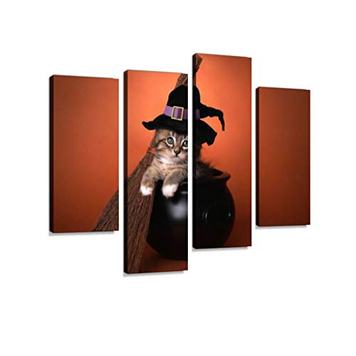 Cute Halloween Witch Themed Kitten Canvas Wall Art Hanging Paintings Modern Artwork Abstract Picture Prints Home Decoration Gift Unique Designed Framed 4 -