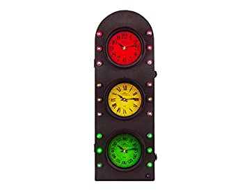 Utopia Alley Traffic Light Clock with Storage Wall Decor, Battery Operated, 25 H