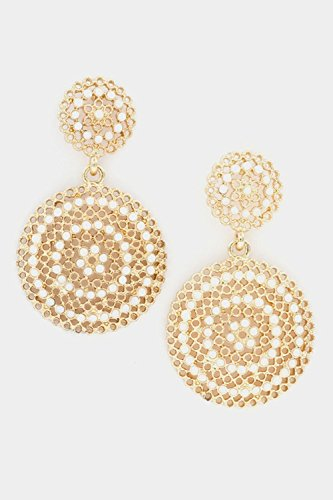 Ayala Earring Post (Karmas Canvas Filigree Round Dangle with Crystal Post Earring (Gold/Ivory))