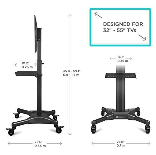"""ONKRON Mobile TV Stand with Mount Rolling TV Cart for 32"""" – 55"""" LCD LED Flat Screen TV with Wheels Shelves Height Adjustable TV Trolley (TS2551) by ONKRON (Image #3)"""