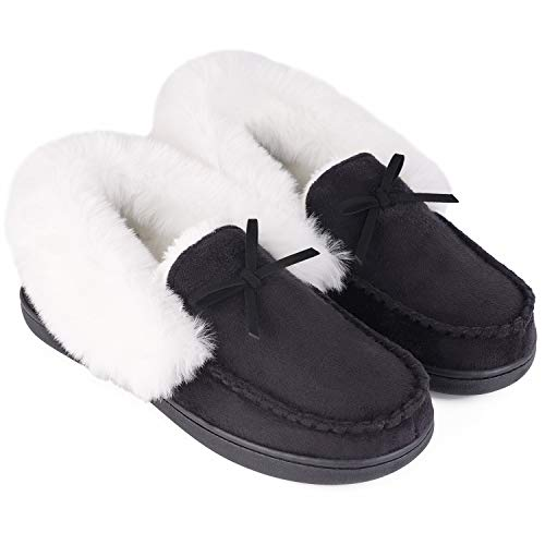 HomeIdeas Women's Faux Fur Lined Suede House Slippers, Breathable Indoor Outdoor Moccasins (9 B(M) US, Black)