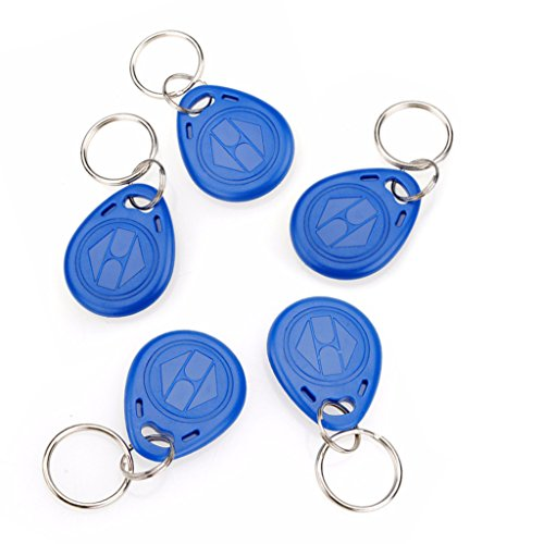 AMEXCOS Proximity EM4100 125KHz RFID Card Tag Token Key Chain Keyfob Reader, Keypad Card for Door Entry Access Control System, for Security Lock (Pack Of 5)