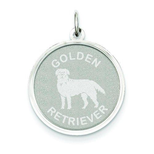 14K White Gold Engraveable Golden Retriever Charm