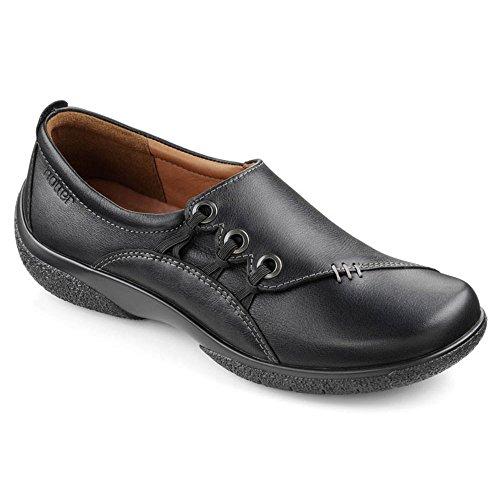 Hotter–Shout negro piel sandalias zapatos negro