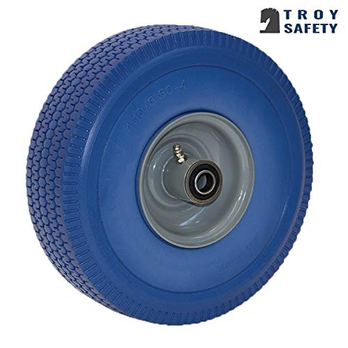 NK Troy Safety WFFBL10 Heavy Duty Solid Rubber Flat Free Tubeless Hand Truck/Utility Tire Wheel, 4.10/3.50-4