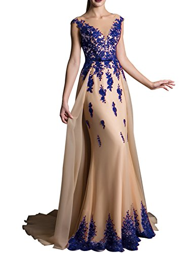 YIRENWANSHA 2018 Long Lace Mermaid V Neck Wedding Sash Prom Dresses Sweep Train Elegant Bridal Belt Bow Formal Gown EV429 Royal Blue Champagne Size 12 (Train Design Sweep)