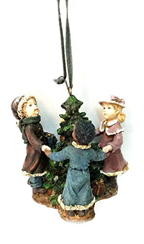 TJ's Christmas Victorian Children Decorating Tree Ornament 3 inches (3 Children)