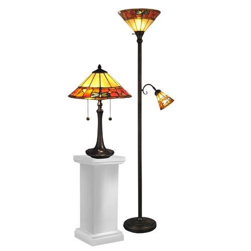 dale tiffany tc12178 genoa table and floor lamp set antique brass amazoncom
