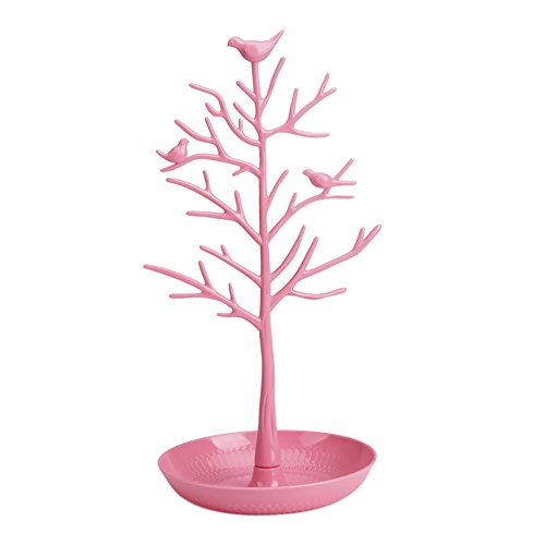 (ChezMax Plastic Birds Tree Stand Jewelry Display Necklace Earring Bracelet Holder Organizer Rack Tower, Pink, 11.8 Inch)