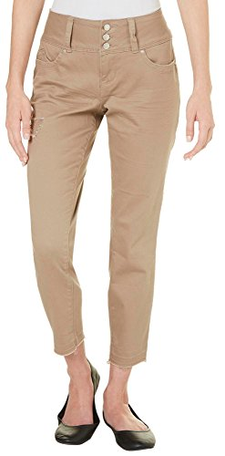 Royalty by YMI Womens Destructed Color Crop Jeans 6 Tan (Khaki Tan Crop)