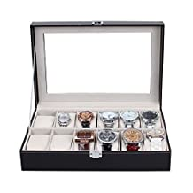 MVPower Leather Watch Box with Metal Lock Clear Display Windows for Jewelry Watch Storage Case Organizer 12 Slots