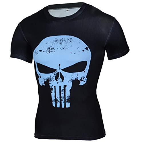 Short Sleeve Slim fit Punisher Compression Workouts Gear Costume Shirt Blue S]()