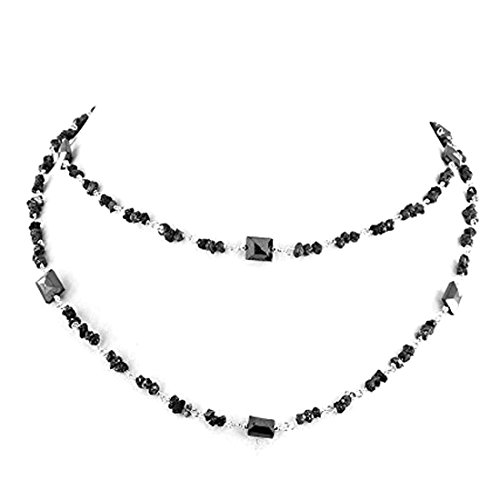 Barishh 150 Cts. Black Diamonds Necklace-4 mm Gold Clasp.24 inches Excellent Luster by Barishh