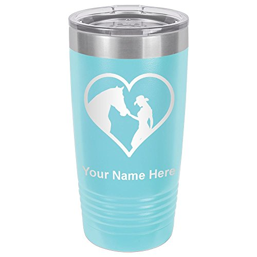 20oz Tumbler Mug, Horse Cowgirl Heart, Personalized Engraving Included (Light Blue) -