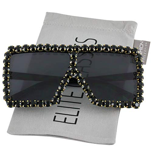 Oversized Exaggerated Flat Top Huge SHIELD Square Sunglasses Colorful Lenses Fashion Sunglasses (Diamond Black)