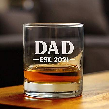 Lplpol Dad Est. 2021 - Bold   8 oz de vidrio o vidrio de moda antigua, refranes grabados, regalo del día del padre y revelación del bebé