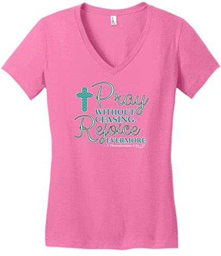Bible Verse Gifts Pray Without Ceasing Chevron Cross Christian Quote Juniors Vneck 3XL TrPnk ()
