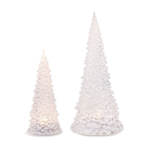DEMDACO Frosted Christmas Tree LED Light Up Tabletop Figurines Assorted Set of 2