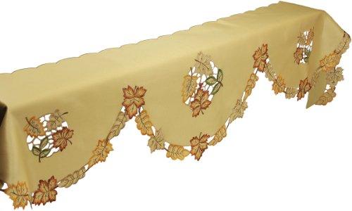(Xia Home Fashions Bountiful Leaf Embroidered Cutwork Mantel Scarf, 82 by 60 by)
