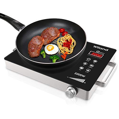 Portable Induction Cooktop Countertop Burner, 2200-Watt 120-Volts Induction Cooker Smart Touch Sensor Electric ceramic cooker, Stainless Steel Cookware Ceramic Glass Plate Cooktop with Temperature Control
