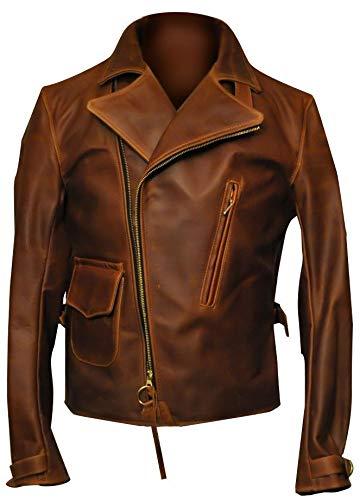 Mens Double Rider Brando Jacket Distressed Brown - Slim Fit Biker Leather Jacket