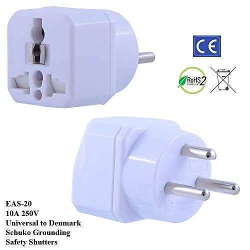 2 PC Pack- EuroPlugs EAS-20 TruAmp WonPro II Denmark Plug Adapter w/ Safety Shutters, Schuko...