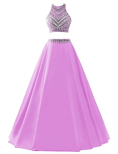 Himoda Women's Two Pieces Beaded Evening Gowns Satin Sequined Prom Dresses Long...