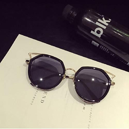 Korea Fashion Women Girls Style Retro Sunglasses Metal Frame Sunglasses Elegant Cute cat Ears (Black