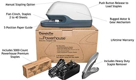 Premium Heavy Duty PraxxisPro Powerhouse Flat-Clinch Electric Stapler