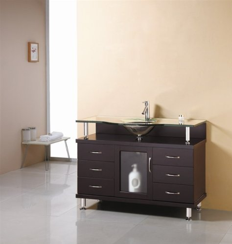 Virtu USA MS-48-G-ES Vincente 48-Inch Single Sink Bathroom Vanity with Includes Tempered Glass Countertop with Integrated Glass Basin, Espresso Finish by Virtu USA (Image #2)
