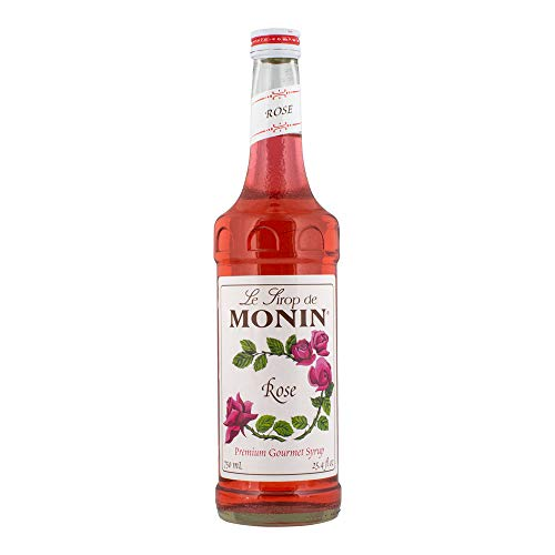 Flavored Simple Syrup - Monin - Rose Syrup, Elegant and Subtle, Great for Cocktails, Mocktails, and Soda, Gluten-Free, Vegan, Non-GMO (750 ml)