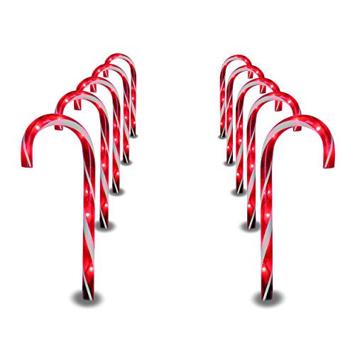 Prextex Christmas Candy Cane Pathway Markers Set of 10 Christmas Indoor/Outdoor Decoration Lights