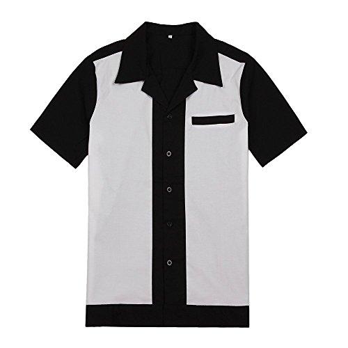 [해외]남성 로커 빌리 빈티지 단추 셔츠 힙합 서부 카우보이 스타일/Mens Rockabilly Vintage Button Shirts Hip Hop Western Cowboy Style