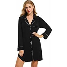Rodeheet Womens Long Sleeve Shirt Sleep Dress, Satin Patchwork Sleepwear Button-Down Pajamas