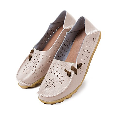 Blivener Donna Mocassini Casual Hollow Flat Shoes Summer Slippers Beige