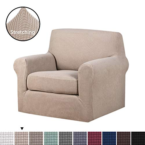 H.VERSAILTEX Stretch Slipcovers Sofa Covers Furniture Protector with Elastic Bottom, Anti-Slip Foams 2 Pieces Couch Shield, Lycra Spandex Jacquard Fabric with Small Checks (Chair, Sand)