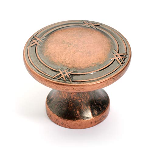Dynasty Hardware K-4001-AC-25PK Ribbon and Reed Cabinet Hardware Knob, Antique Copper, 25-Pack ()
