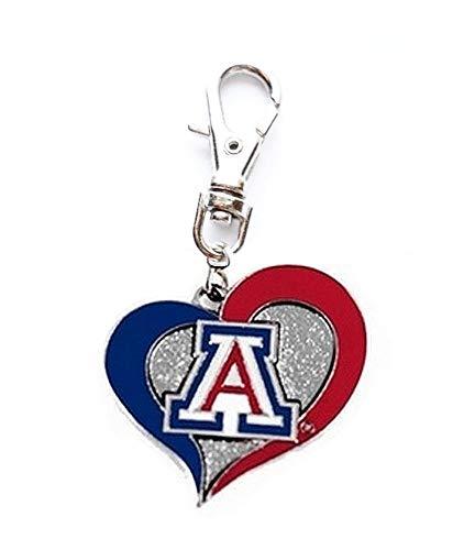Heavens Jewelry University of Arizona Wildcats Team Heart Charm ADD to Zipper Pull PET Dog CAT Collar Leash Keychain ETC ()