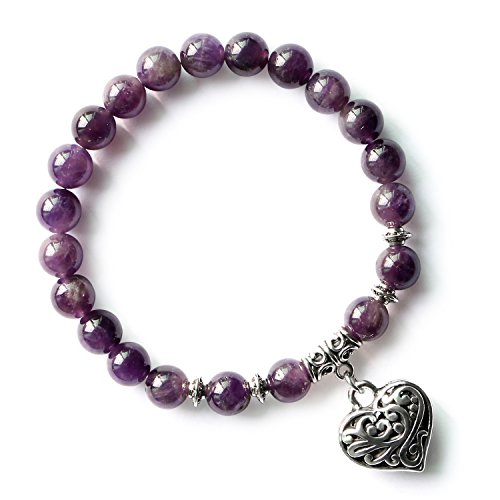 MHZ JEWELS Natural Amethyst Purple 8mm Beads Stretch Bracelets Silver Heart Charm Stone Beaded Strand Bracelet