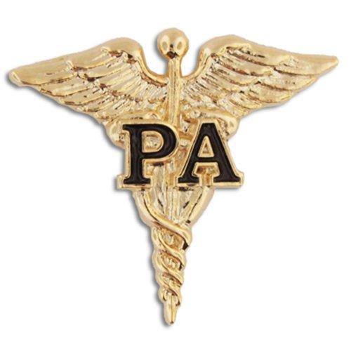 PinMart Physician Assistant Black PA Gold Caduceus Lapel Pin
