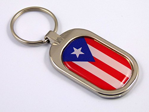 Key Ring Chrome Metal Keychain (Puerto Rico Flag Key Chain metal chrome plated keychain key fob keyfob Rican)