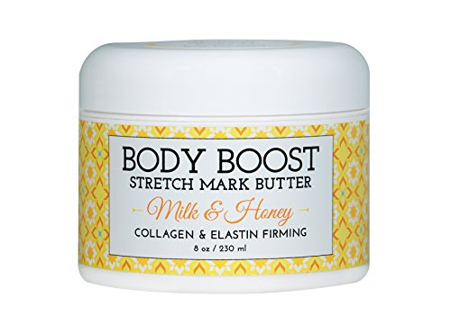 Body Boost Milk & Honey Stretch Mark Butter 8 oz.- Pregnancy and Nursing Safe Skin Care (Best Cream For Itching During Pregnancy)