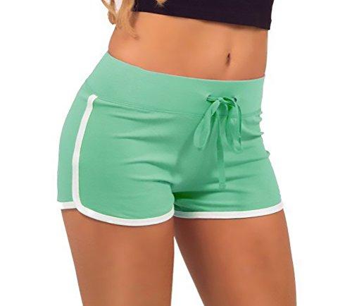 Esecuzione Verde Pants Sport Chic Tempo Mieuid Estate Yoga Yoga Formazione Corti Casuale Ragazze Donna Cute Alta Libero Pantaloncini Shorts in Pantaloni Vita R1zW6Rq