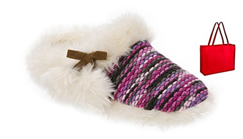 Gift Bag Knit dearfoams Womens' Fun Pink Clog and Chunky Poms with Slipper 1fxpg