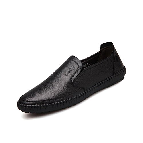 Ocasionales Hombres Los Planos Cuero Para Mocasines Respirables Verano De Zapato Zapatos Negro Caminar Moda Conducción pnTWAc0xw