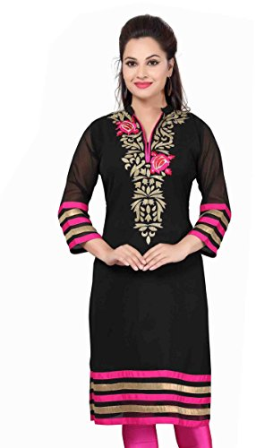 Jayayamala-Georgette-Embroidered-Ladies-Tunic-Kurta-Blouse-Shirt-Tops-in-Black