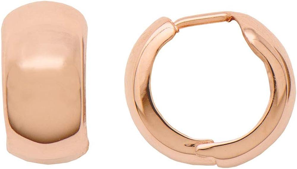 Thick 14K Gold Huggie Hinged Hoop Earrings .60 Inch (15mm) (8mm Wide)