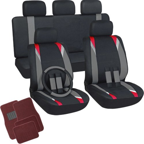 Cars Floor Carpet Trucks Mats (OxGord 21pc Flat Cloth Seat Covers with Red Carpet Floor Mats for Car, Truck, Van, SUV)