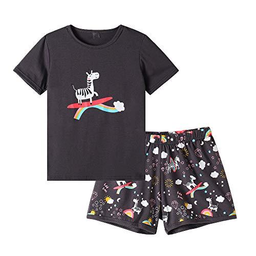 MyFav Big Girls' Summer Pajama Sets Cute Patterns Sleepwears Cartoon Children PJS ()
