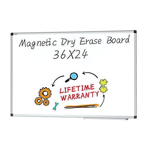 Dry Erase board - Magnetic Whiteboard Large White Board, Wall Mounted Dry Erase Board Aluminum Framed Erase Board with Detachable Marker Tray (36x24) (Wall Whiteboard)